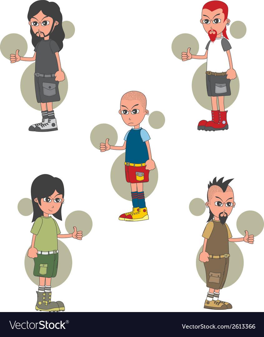 Punk kids vector