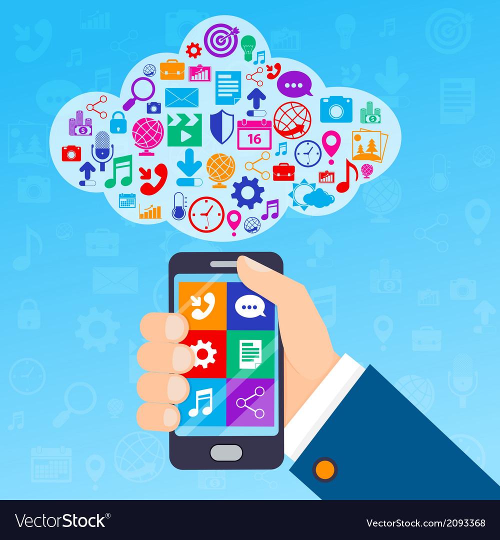 Mobile services cloud vector