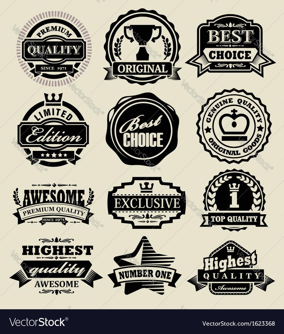 Premium quality badges vector