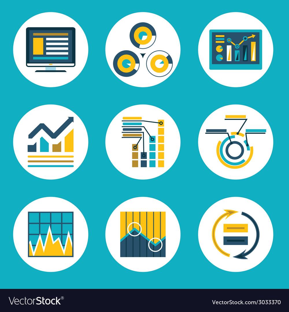 Data retro flat design style business infographics vector