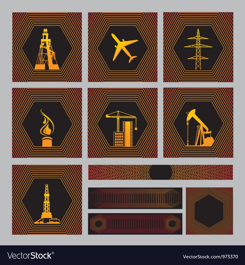 Seven icons pack with backgrounds vector