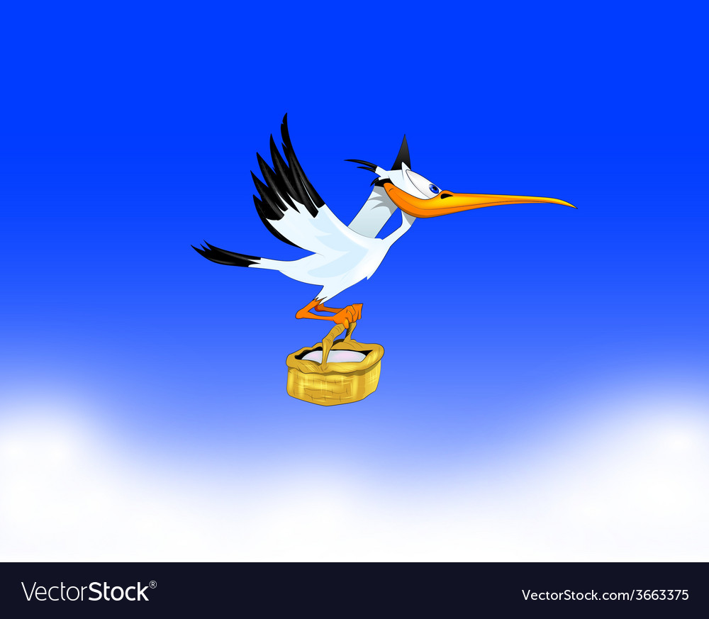 Stork carrying a child to parents vector