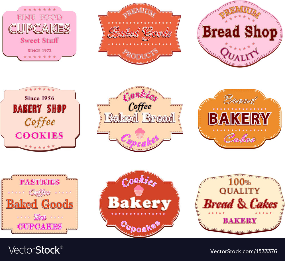 Collection of vintage retro bakery logo badges and vector
