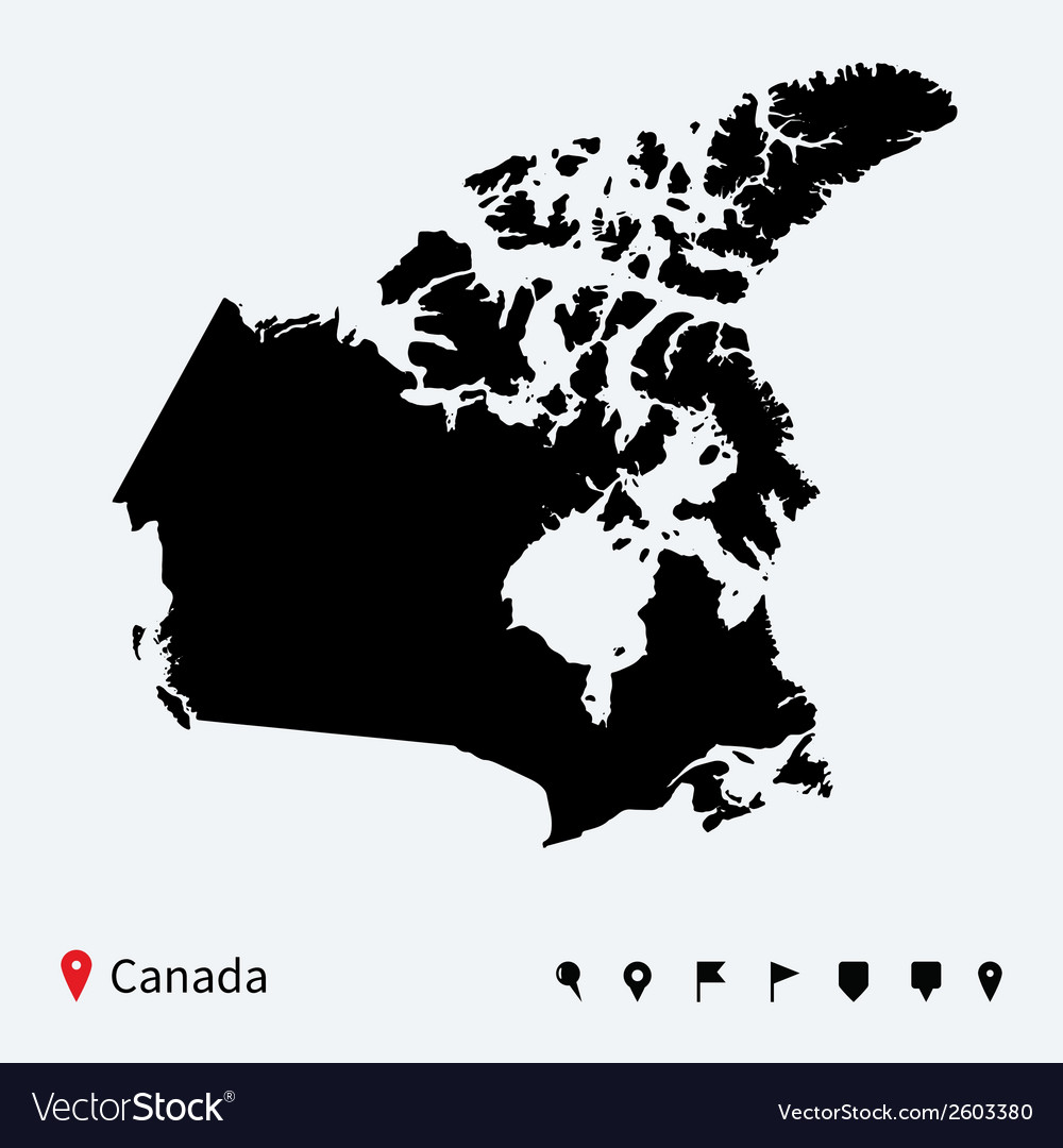 High detailed map of canada with navigation pins vector