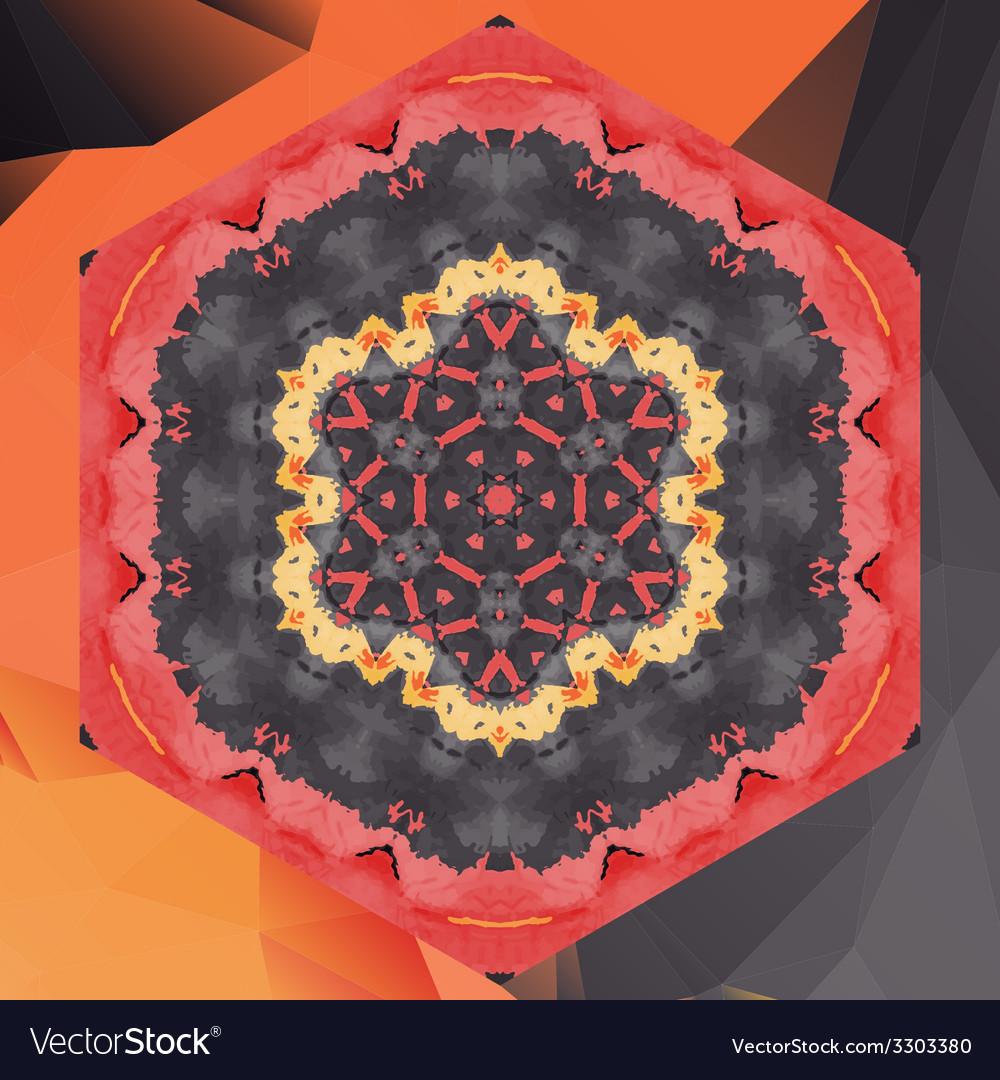 Mandala chakra flower design in red color vector