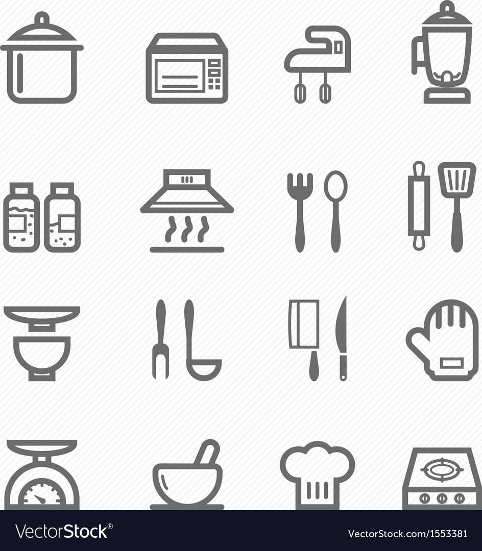 Kitchen symbol line icon set vector