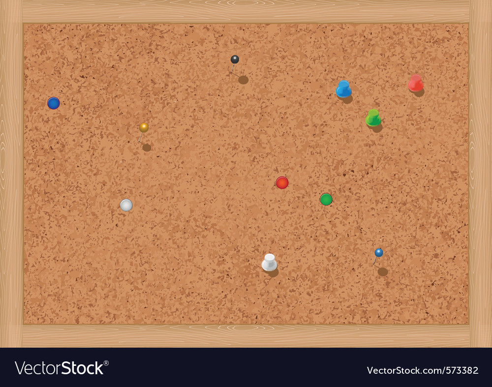 Blank cork notice board with thumbtacks vector