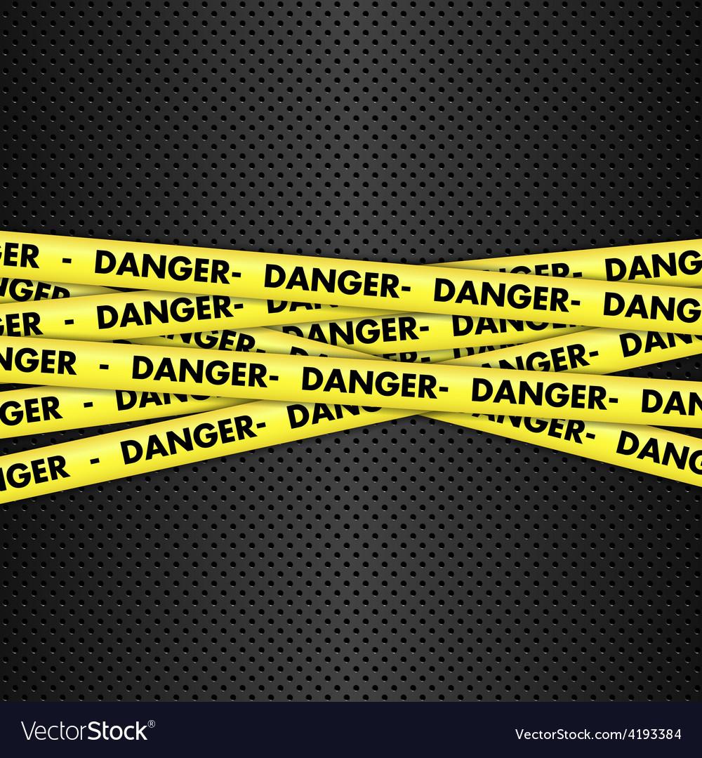 Danger tape on metallic background vector