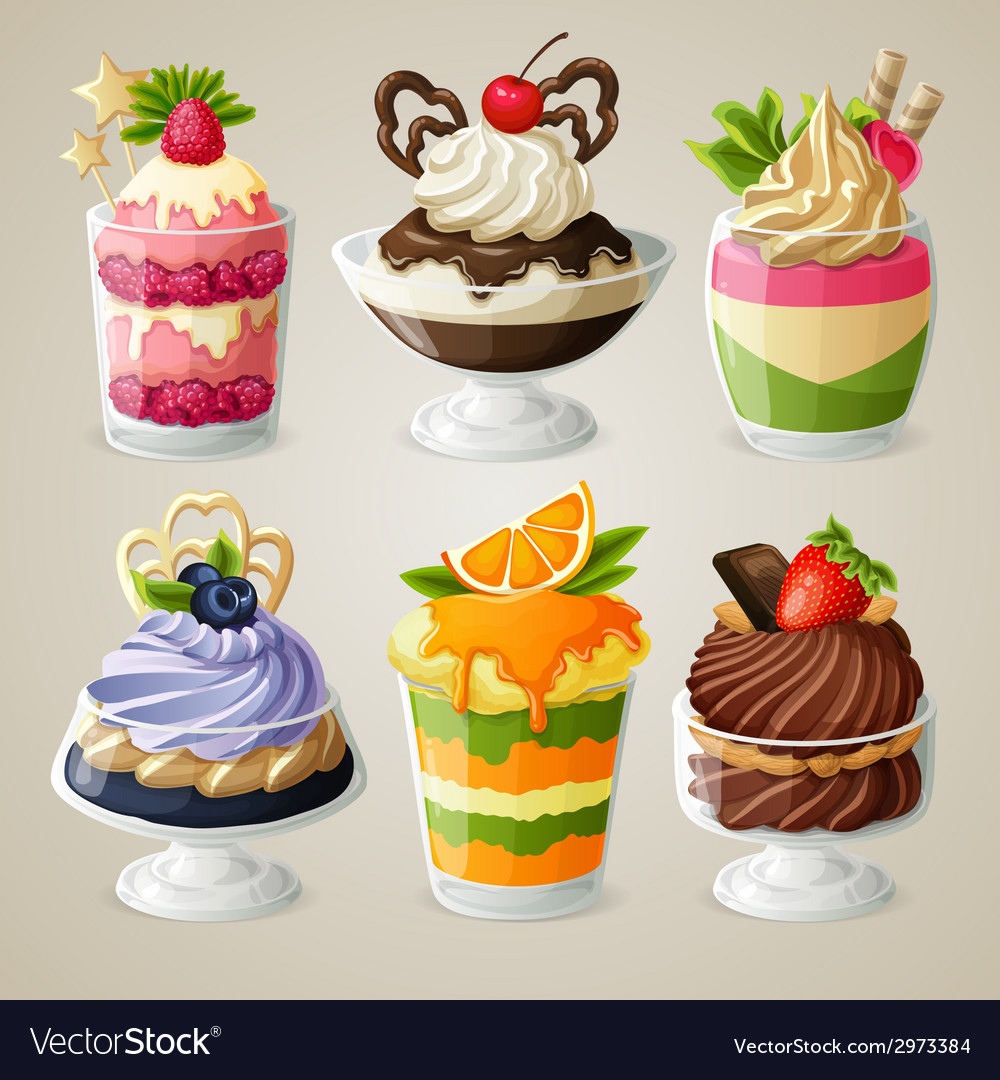 Sweets ice cream mousse dessert set vector