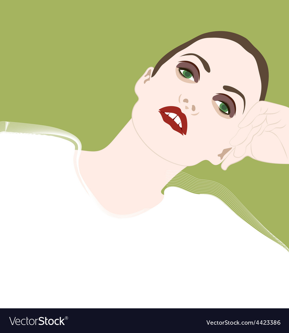 Girl leaning on the arm vector