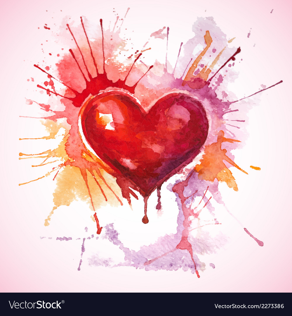 Hand drawn painted red watercolor heart vector