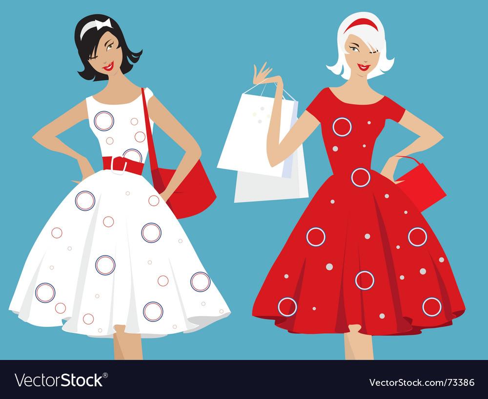 Retro girls shopping vector