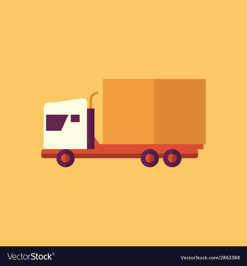 Truck transportation flat icon vector