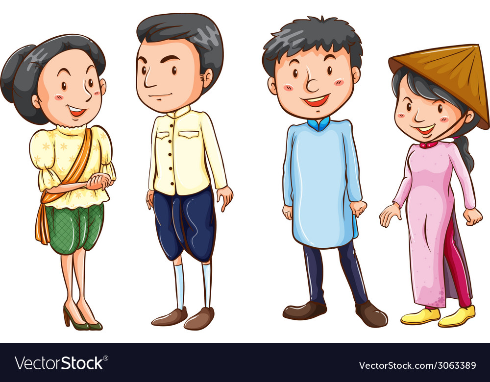 Simple coloured sketches of the asian people vector