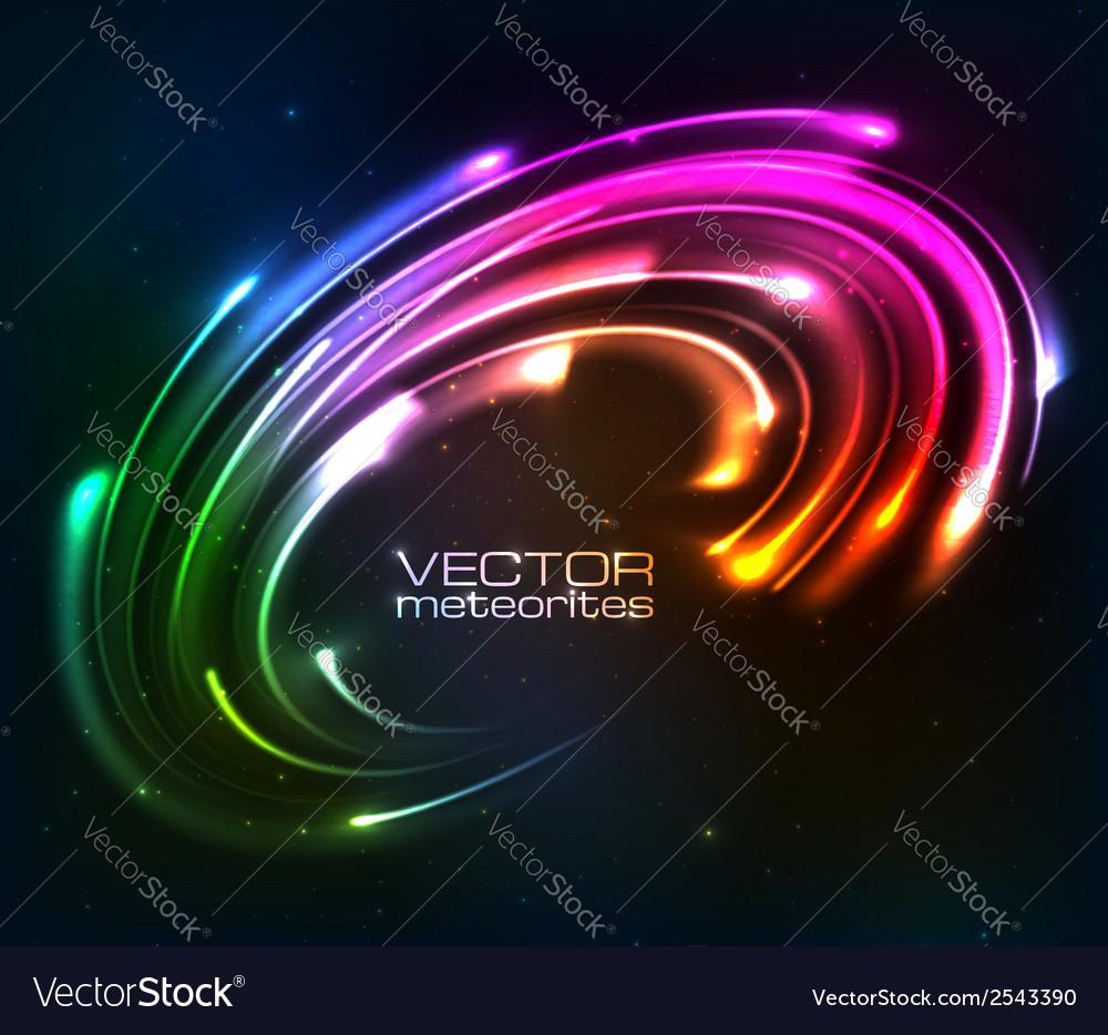 Rainbow colors shining neon lights twirl vector