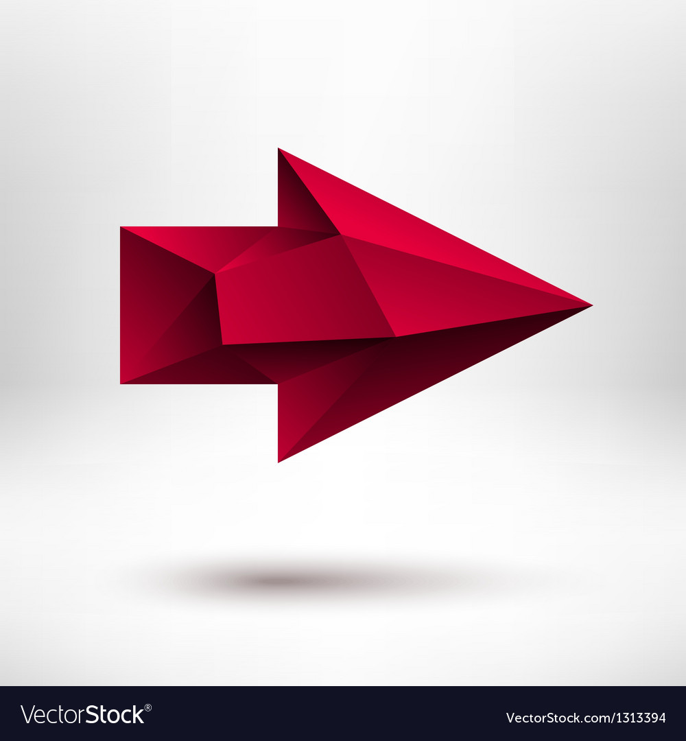 3d red right arrow sign with light background vector