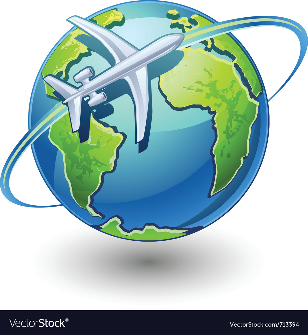 Airplane flying the earth vector