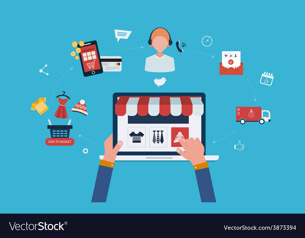 Mobile marketing and online store vector