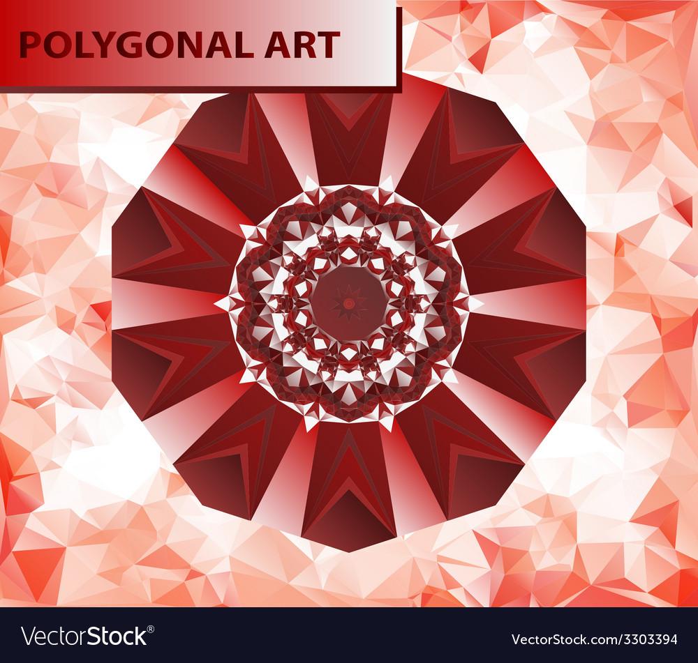 Red mandala like chakra flower design mehndi paint vector