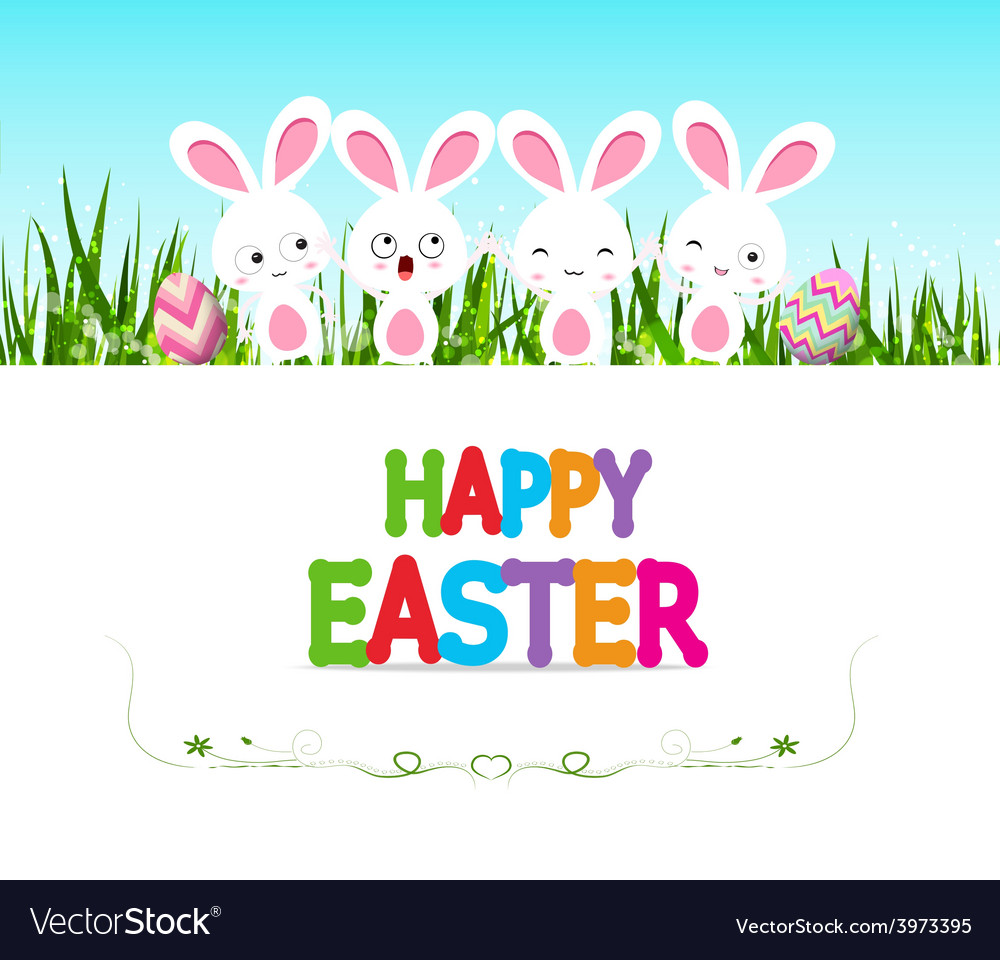 Happy easter eggs card with bunny and lettering vector