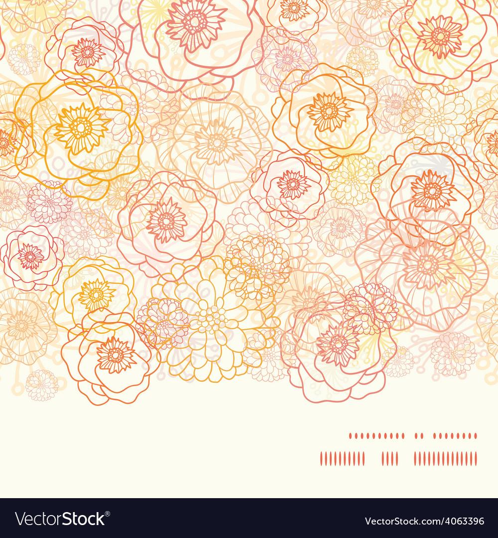 Warm flowers horizontal frame seamless vector