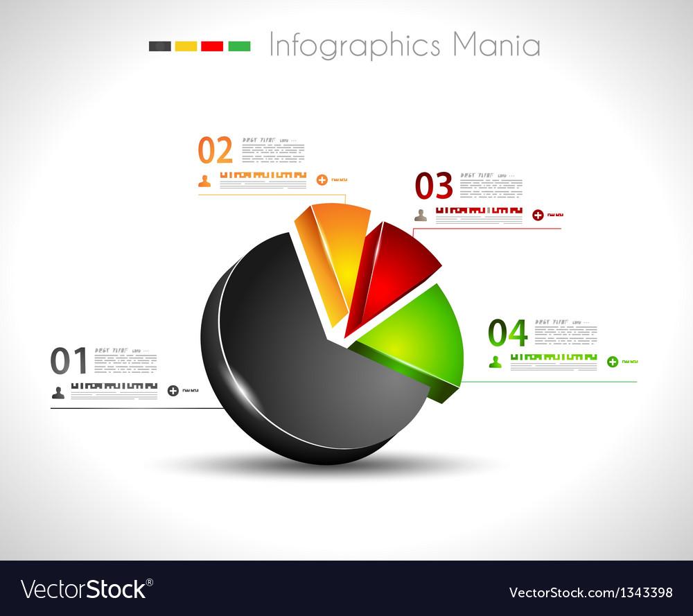 Infographic design template 3d pie vector