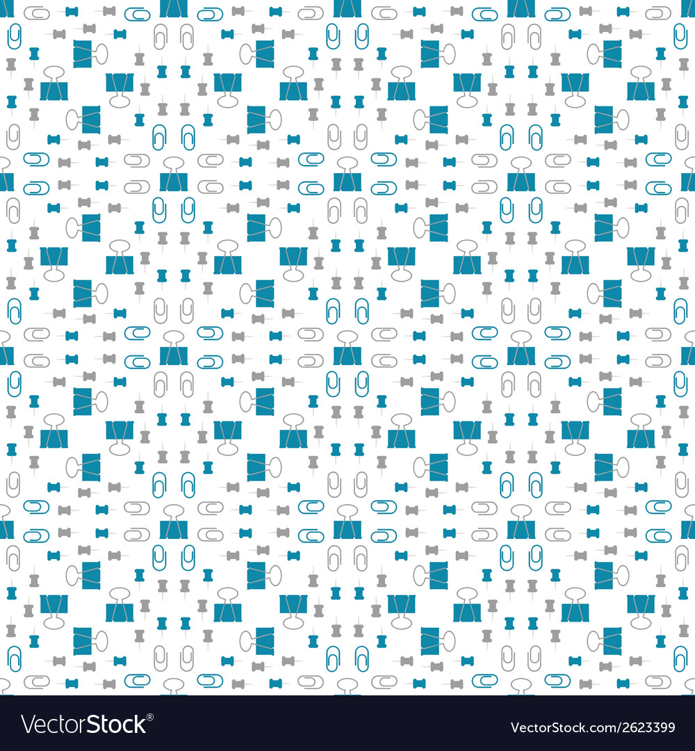 Seamless pattern with stationery clip thumbtacks vector