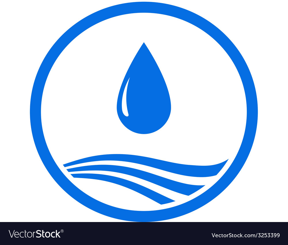 Water drop and blue wave vector