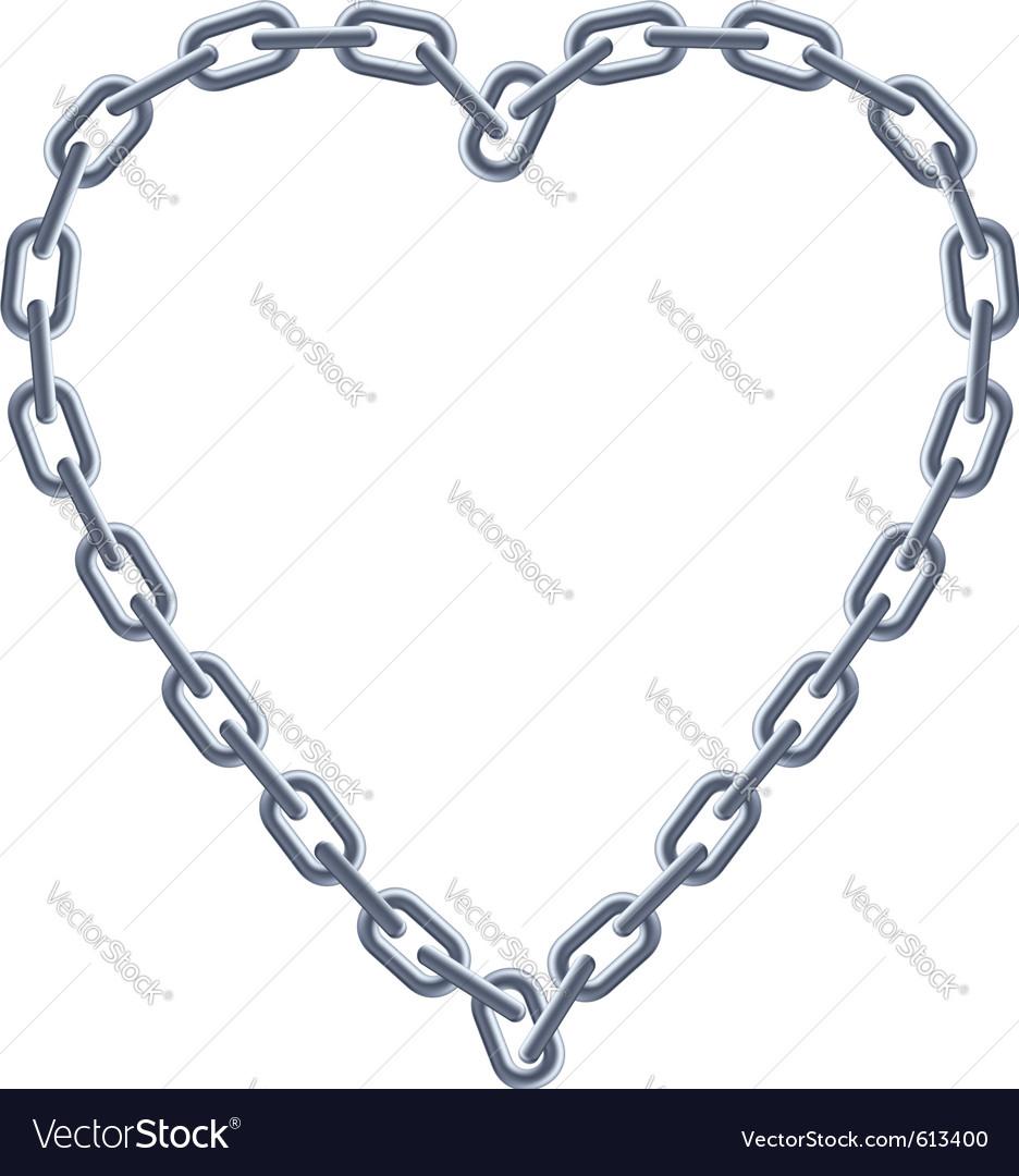 Chain silver heart vector