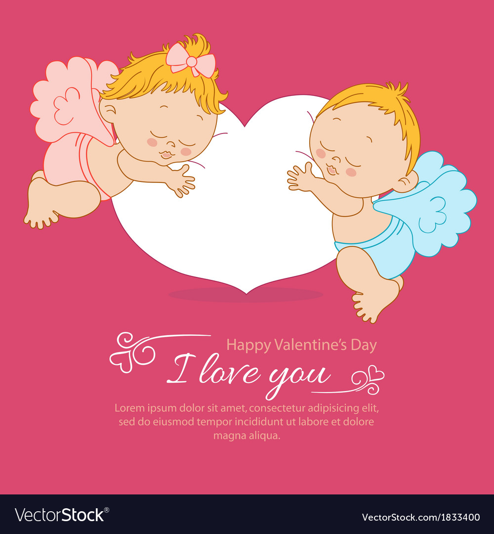 Valentines day greeting card with two angels vector