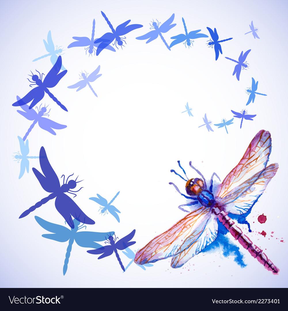 Flying purple watercolor dragonflies vector