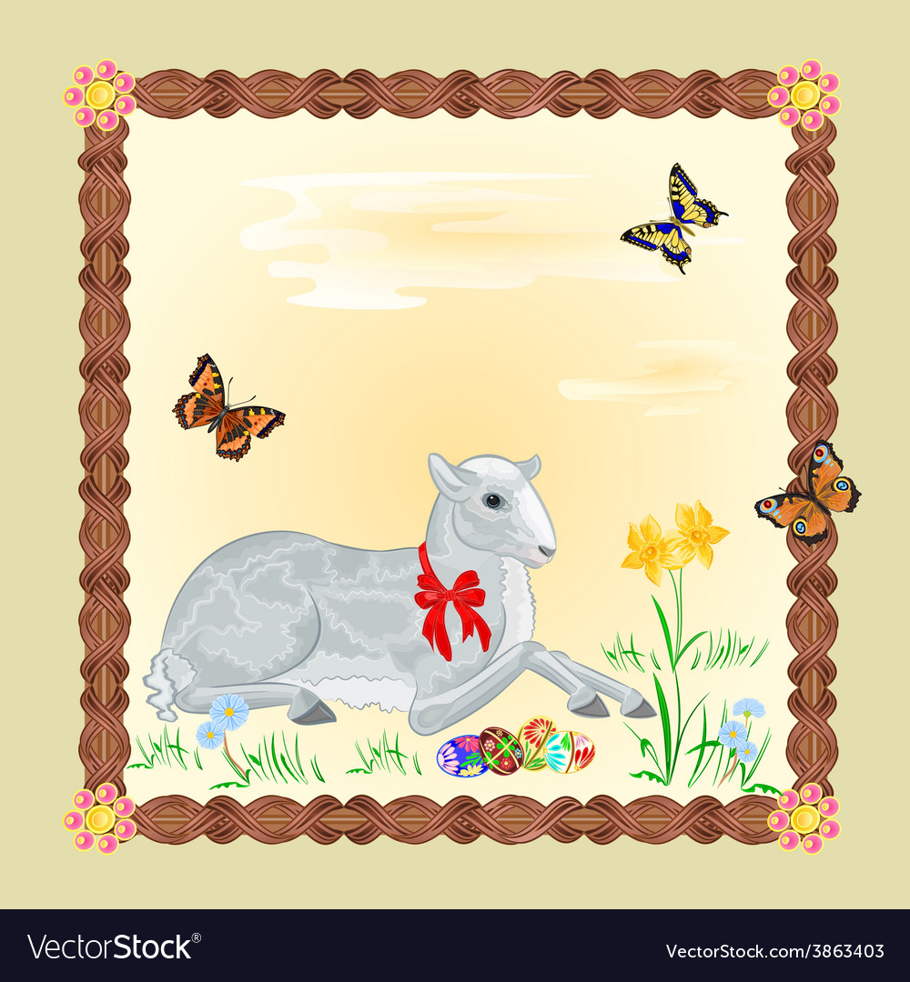 Easter lamb and daffodil easter frame vector