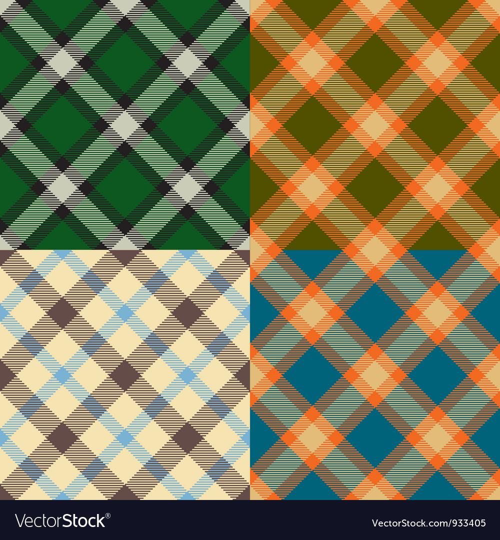 Color plaid patterns set vector
