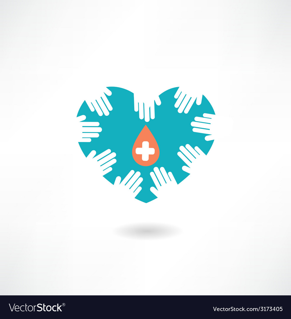 Donor hands holding a heart with a drop icon vector