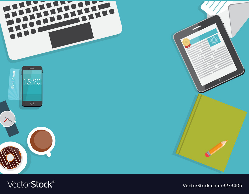 Working place modern office interior flat design vector