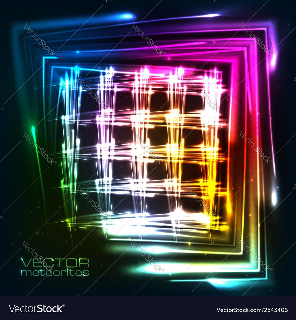 Rainbow colors shining neon lights grid vector