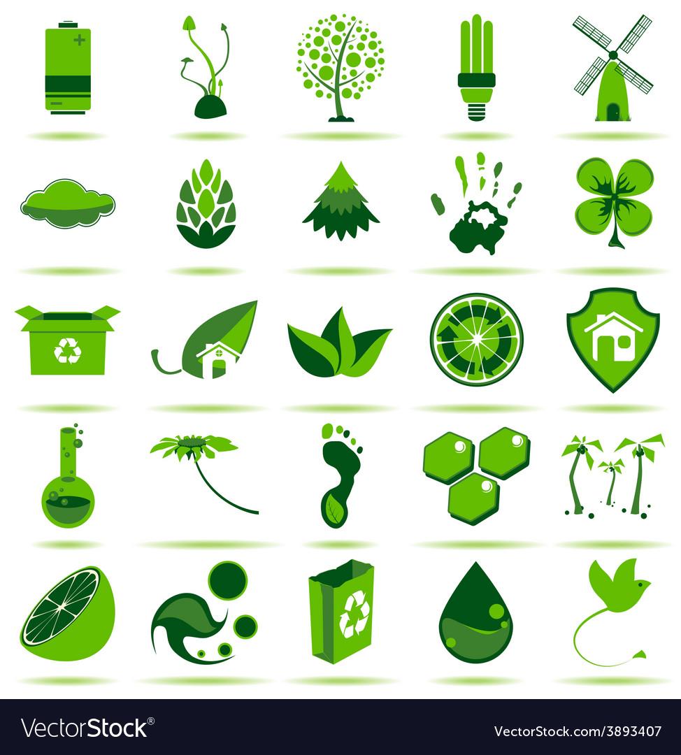 Green eco icons 2 vector