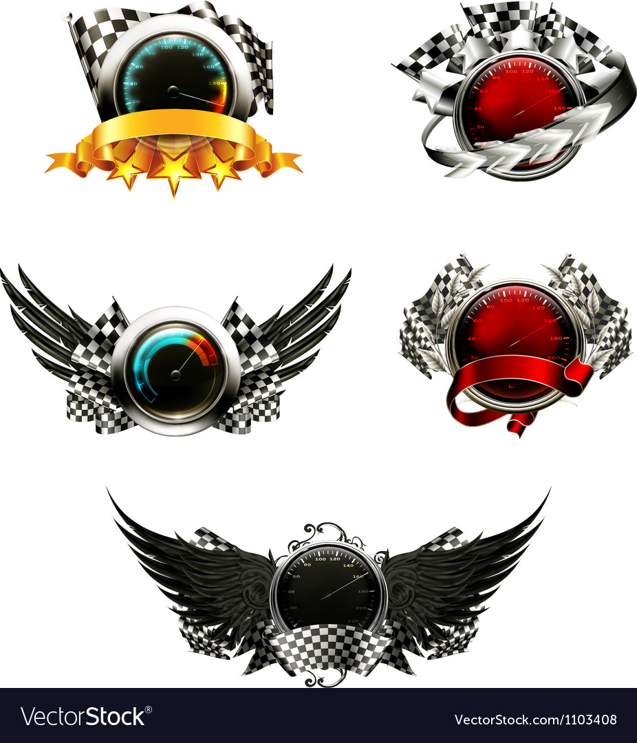 Set of racing emblems vector