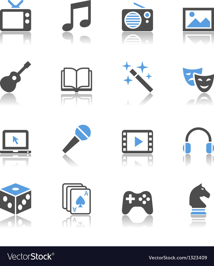 Entertainment icons reflection vector