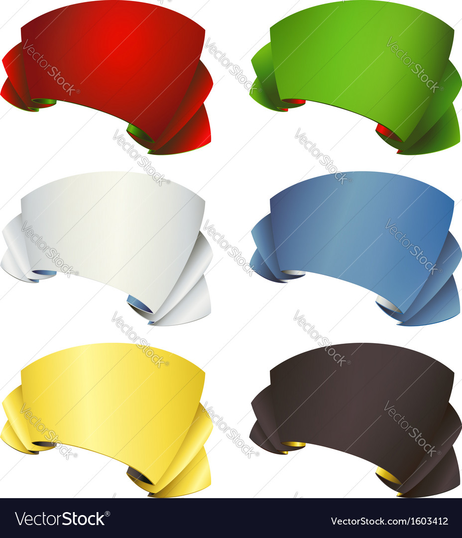 Color ribbon banners set vector