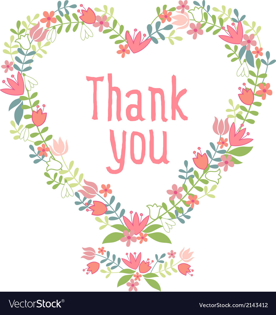 Thank you floral heart wreath vector