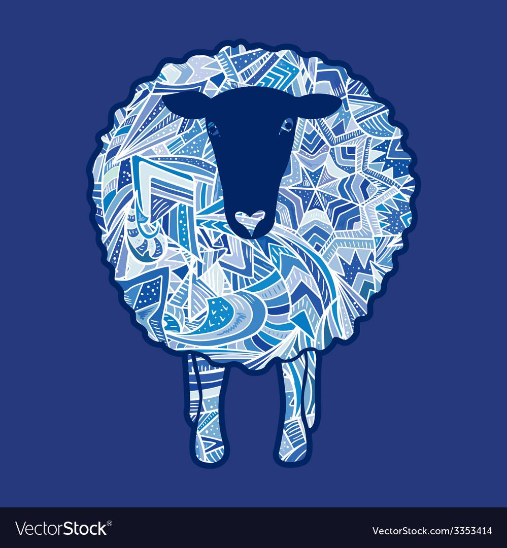 Aztec ornament sheep vector