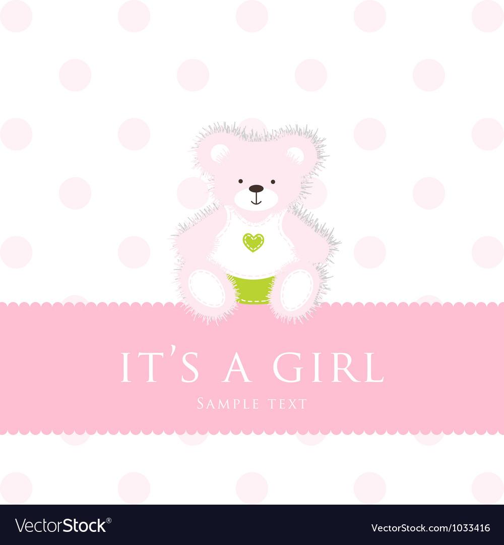 Baby girl teddy card vector