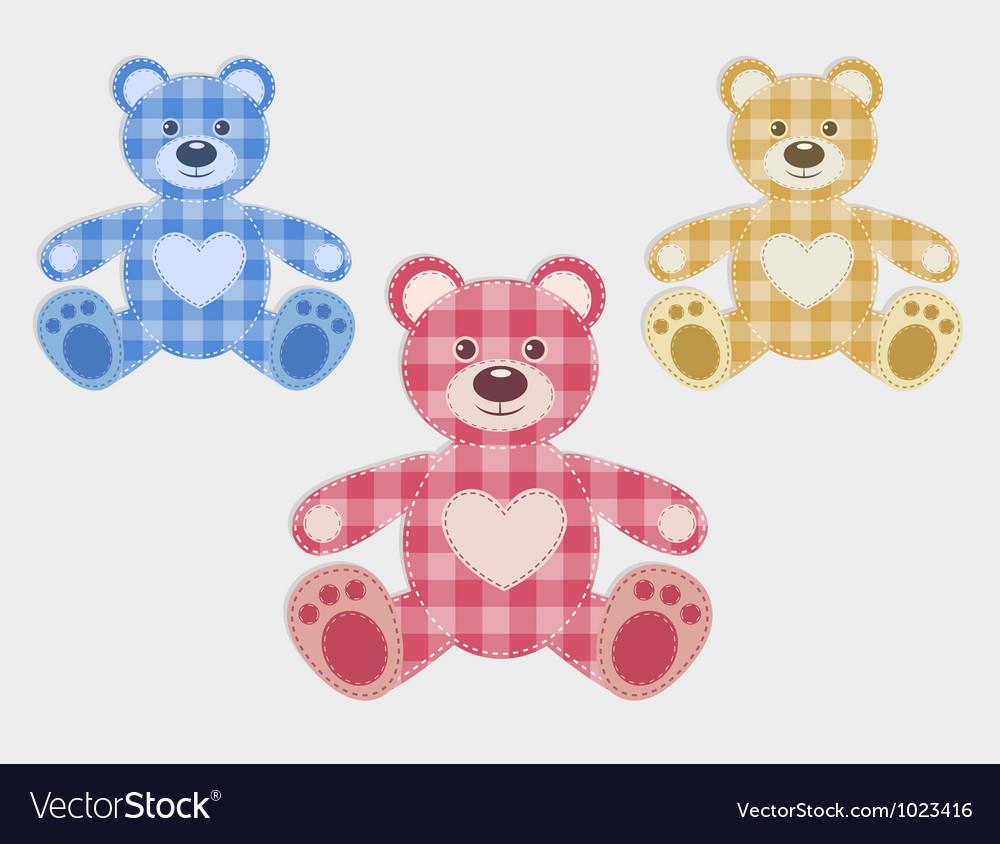 Set of color teddy bear vector