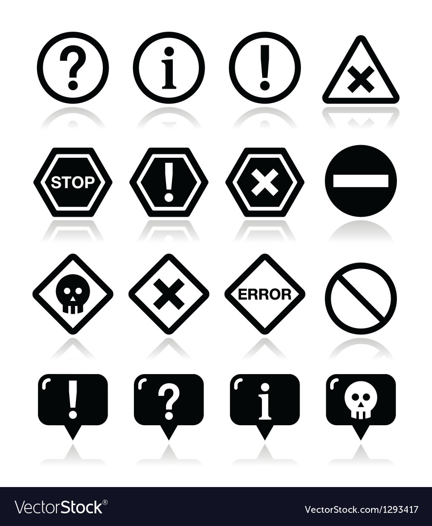 System icons - warning danger error icons vector