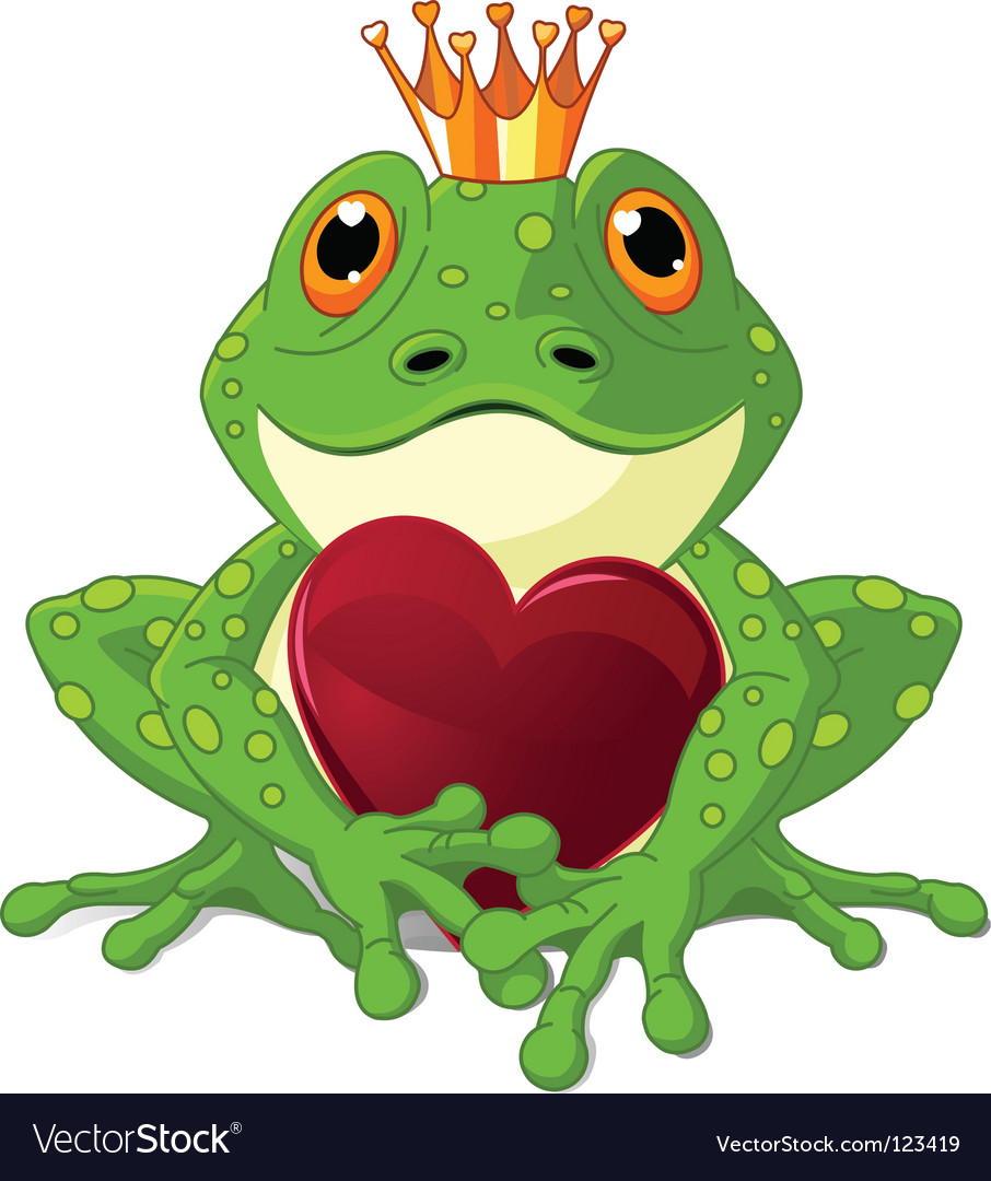 Frog with heart vector