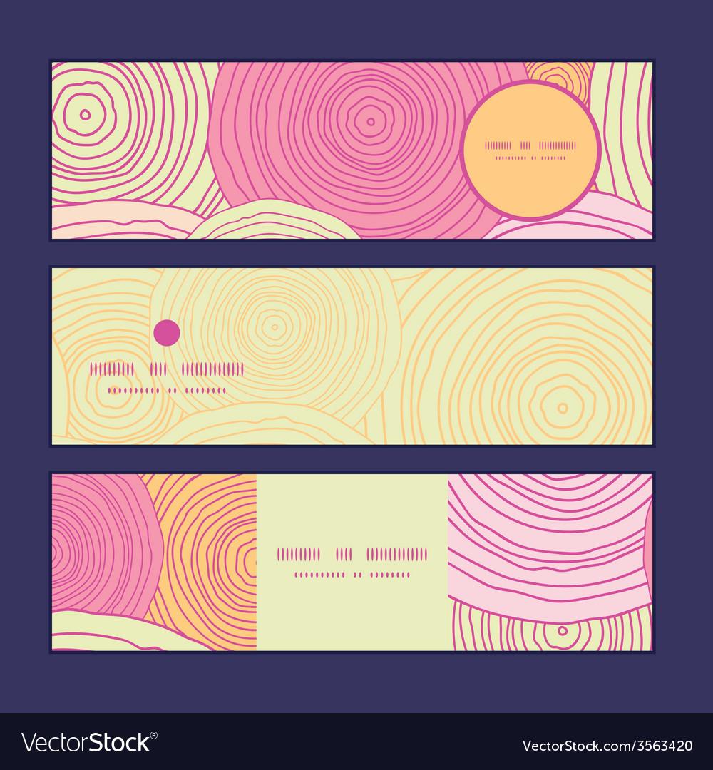 Doodle circle texture horizontal banners set vector