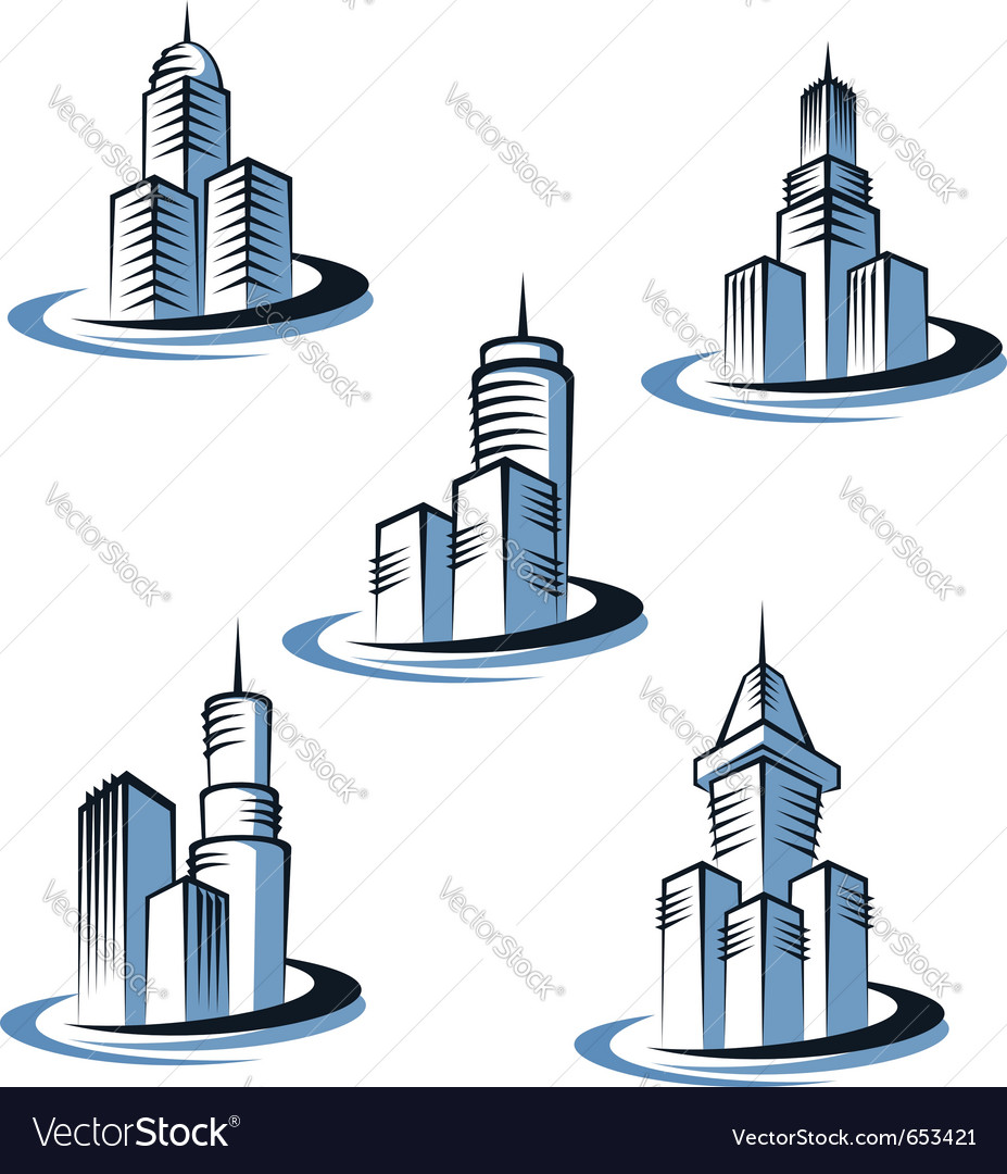 Skyscrapers and real estate logos vector