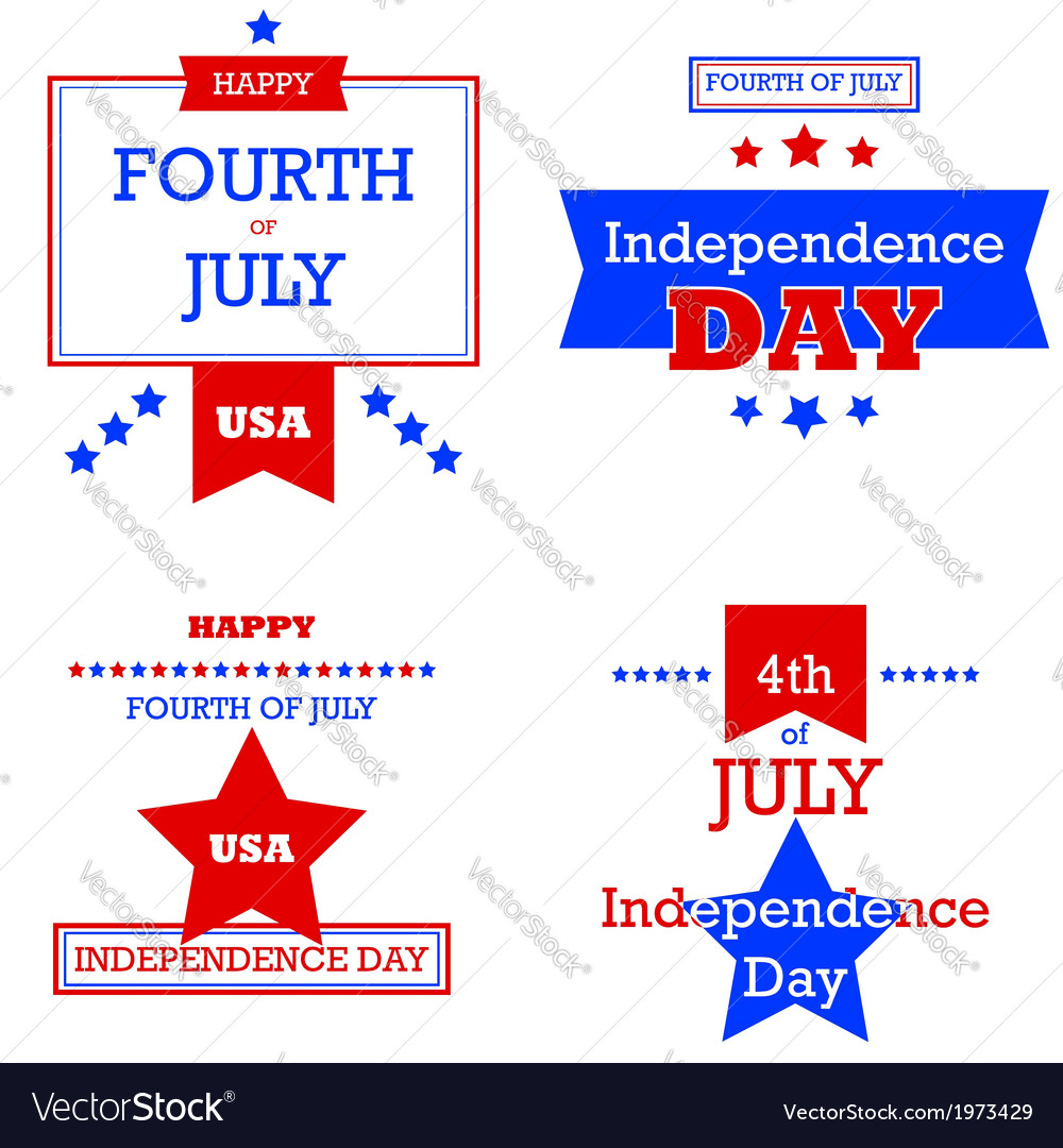 Independence day retro cards vector