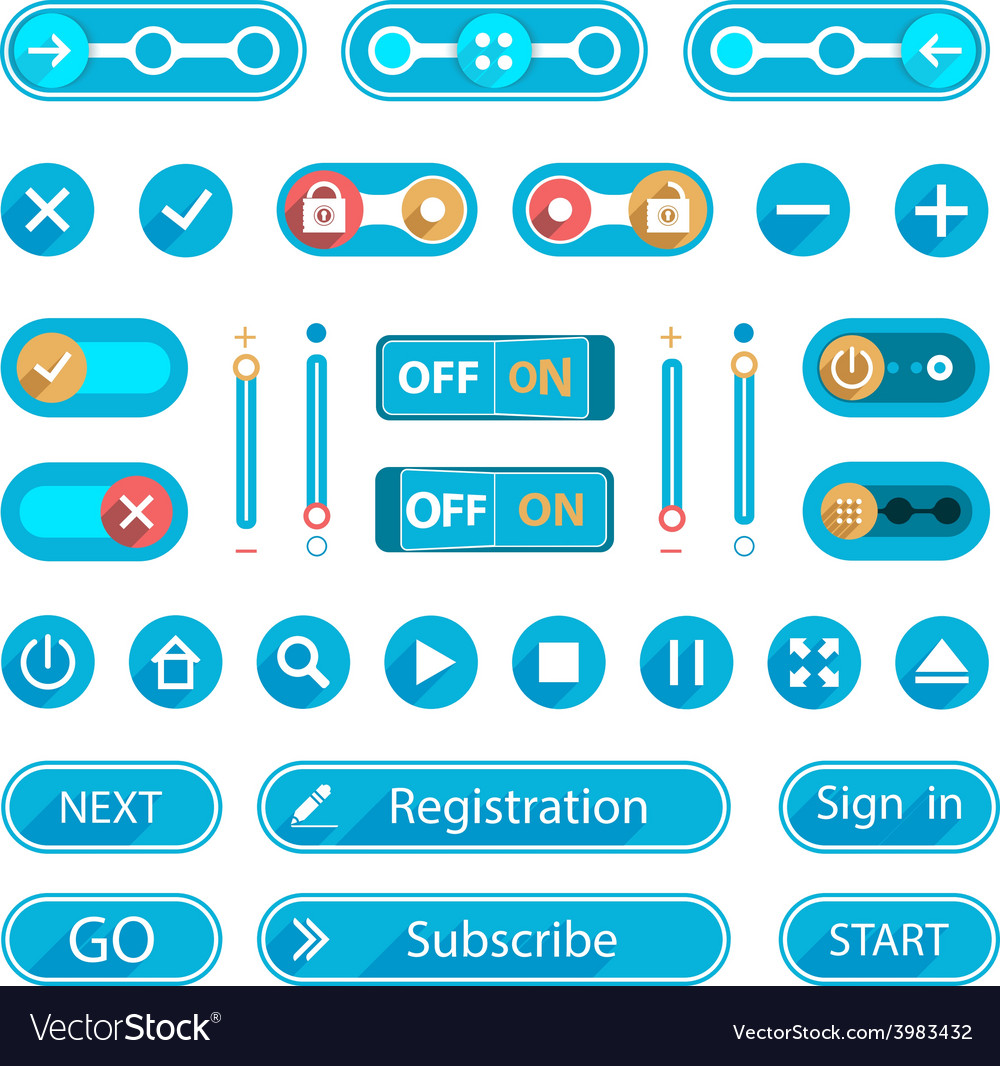 Blue buttons and switches in a minimalist style vector